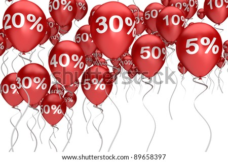 balloons sale red color with a different interest - stock photo