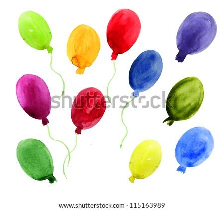 Balloons set. Watercolor illustration on white - stock photo