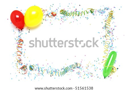 balloons, streamers and confetti arranged as decorative party frame - stock photo