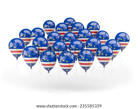 Balloons with flag of cape verde isolated on white