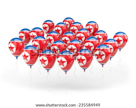 Balloons with flag of north korea isolated on white