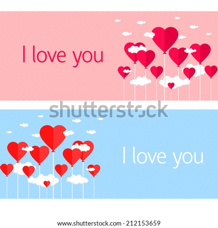 Balloons with heart shaped clouds on blue pink striped background - stock photo