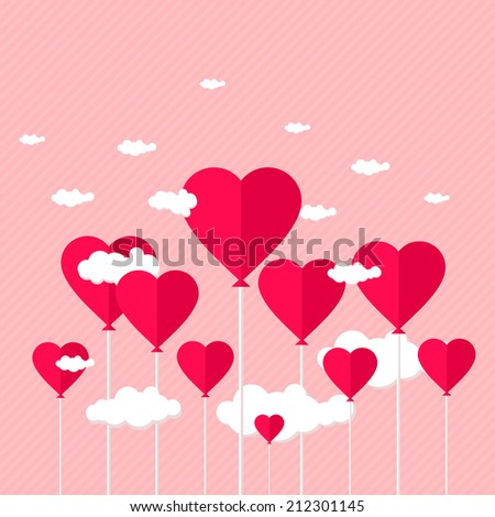 Balloons with heart shaped clouds on pink striped background. Raster version. - stock photo