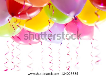 balloons with streamers for birthday party celebration - stock photo