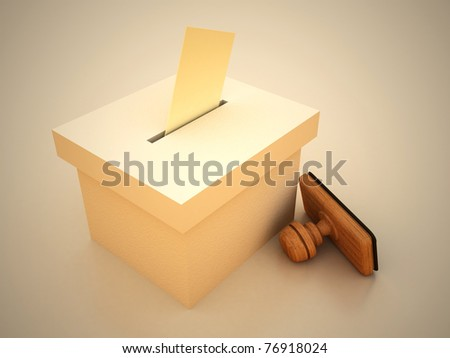 Ballot and stamp with envelope 3D RENDERED - stock photo