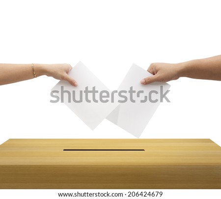 Ballot box and casting vote on white background  - stock photo