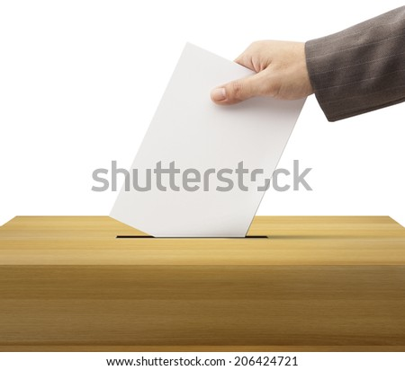 Ballot box and casting vote on white background