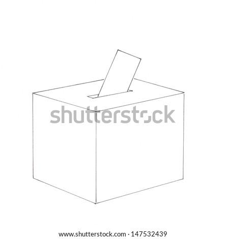 Ballot box and envelope - stock photo