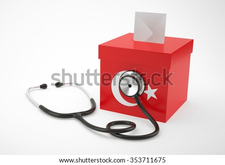 Ballot box and stethoscope for Turkey - stock photo