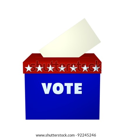Ballot Box. Ballot box in red, white, and blue with ballot dropping in.  Isolated on a white background. Political - stock photo