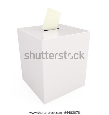 Ballot box isolated on white - 3d illustration - stock photo