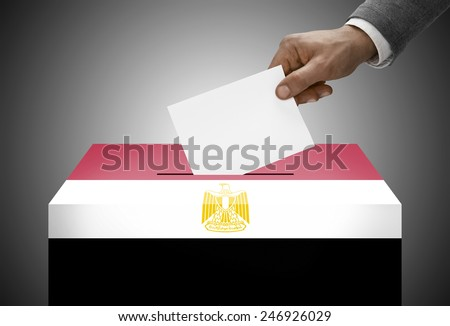 Ballot box painted into national flag colors - Egypt - stock photo