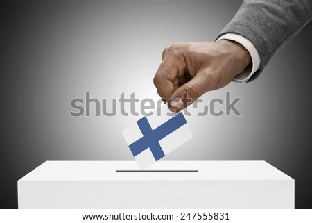 Ballot box painted into national flag colors - Finland - stock photo