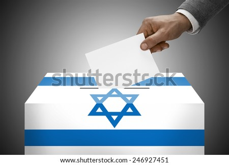 Ballot box painted into national flag colors - Israel - stock photo