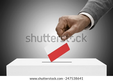 Ballot box painted into national flag colors - Poland - stock photo
