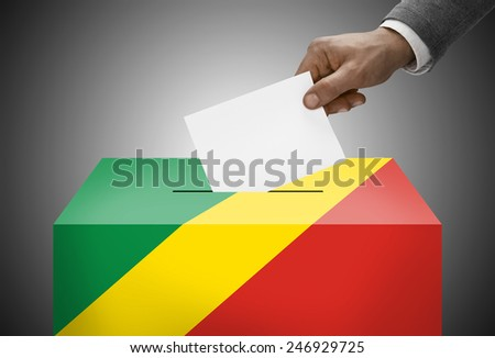 Ballot box painted into national flag colors - Republic of the Congo - Congo-Brazzaville - stock photo