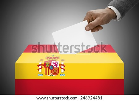 Ballot box painted into national flag colors - Spain - stock photo