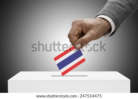 Ballot box painted into national flag colors - Thailand - stock photo