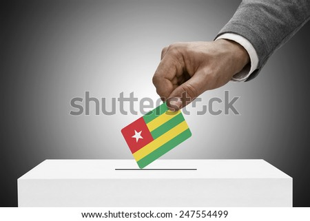 Ballot box painted into national flag colors - Togo - stock photo