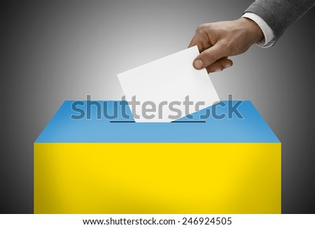 Ballot box painted into national flag colors - Ukraine