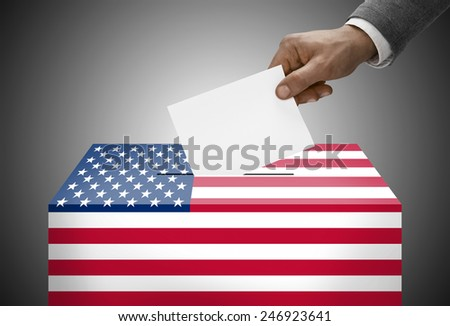 Ballot box painted into national flag colors - United States - stock photo
