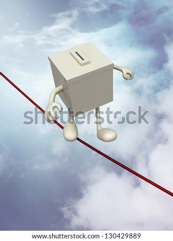 ballot box poised on the wire, 3d illustration on sky background - stock photo