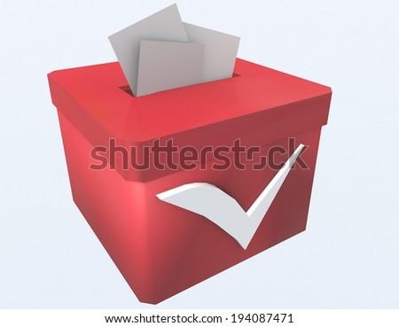 ballot box red - tick - stock photo