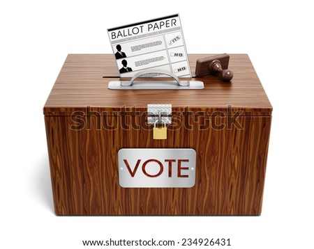 Ballot box, stamp and ballot paper on white background. - stock photo