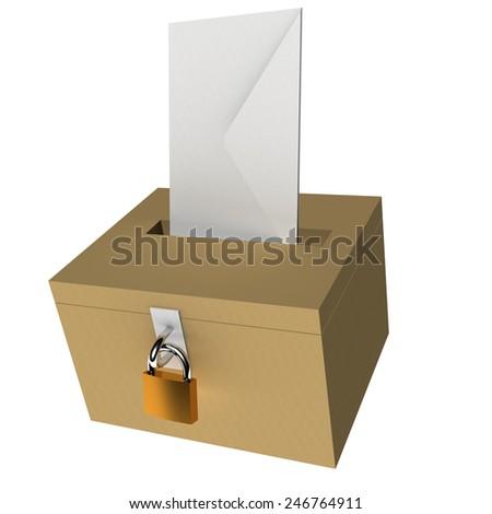 ballot box, white envelope, padlock, elections background - stock photo