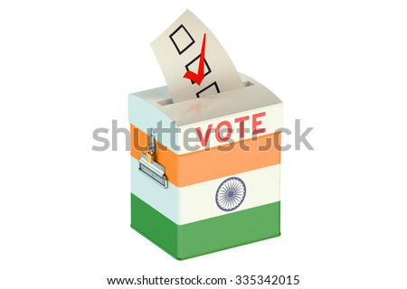 ballot box with flag of India isolated on white background - stock photo