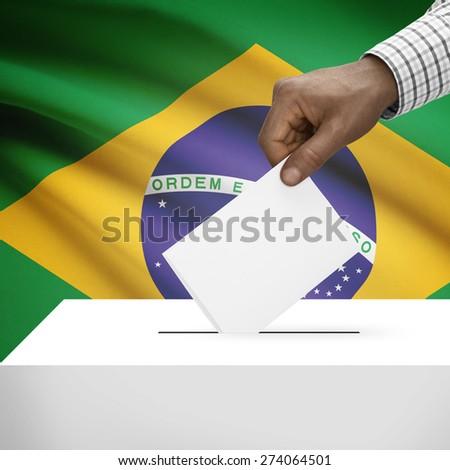 Ballot box with flag on background - Brazil - stock photo