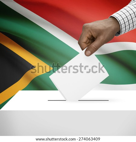 Ballot box with flag on background - South Africa - stock photo