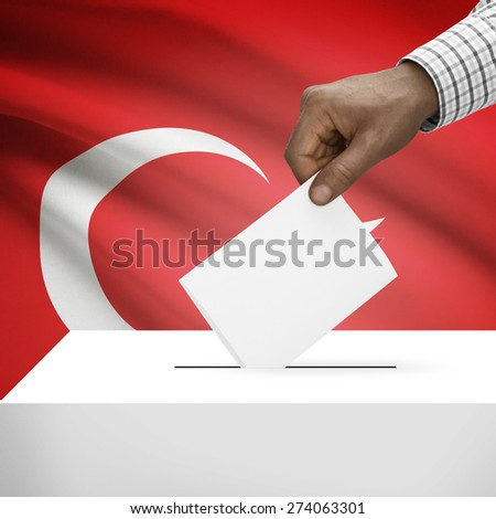Ballot box with flag on background - Turkey - stock photo