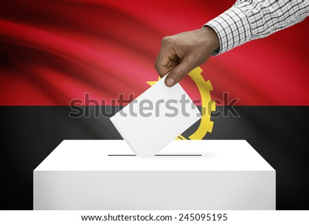 Ballot box with national flag on background - Angola