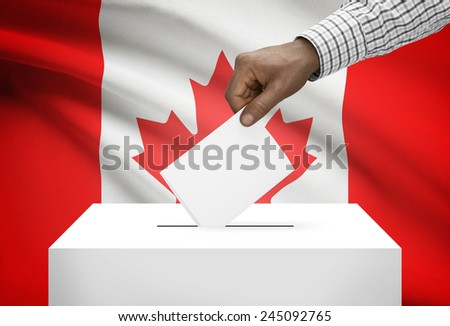 Ballot box with national flag on background - Canada - stock photo