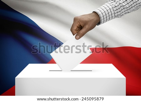 Ballot box with national flag on background - Czech Republic - stock photo