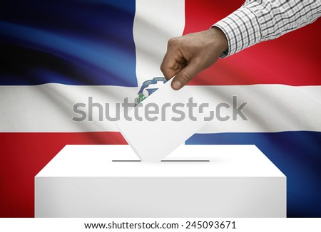 Ballot box with national flag on background - Dominican Republic