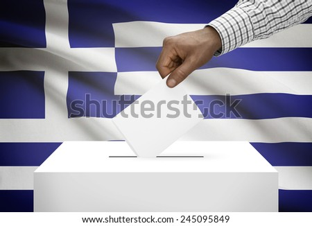 Ballot box with national flag on background - Greece - stock photo