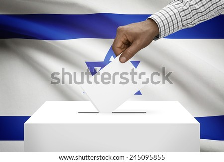 Ballot box with national flag on background - Israel - stock photo