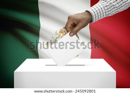 Ballot box with national flag on background - Mexico - stock photo