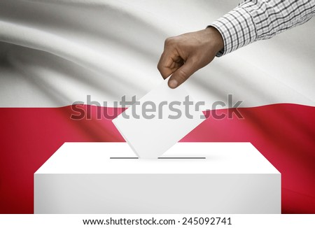 Ballot box with national flag on background - Poland - stock photo