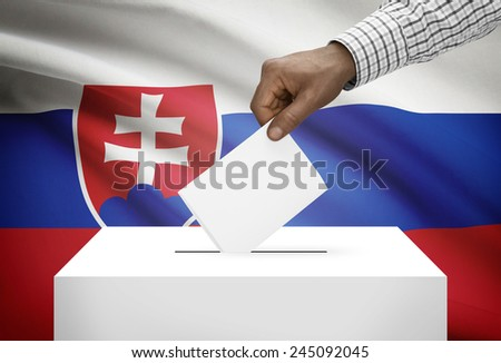 Ballot box with national flag on background - Slovakia - stock photo