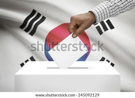 Ballot box with national flag on background - South Korea - stock photo
