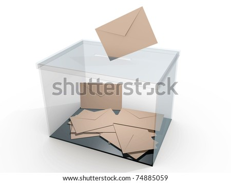Ballot box with some votes. Democratic elections. Referendum - stock photo