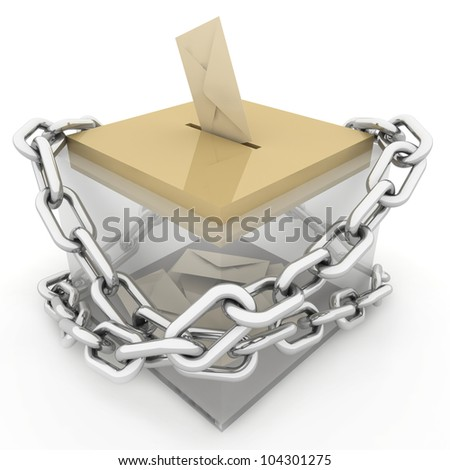 Ballot box with some votes wrapped chain. Concept of voting / email / postage - stock photo