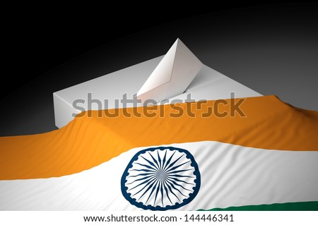 Ballot box with the flag of India - stock photo