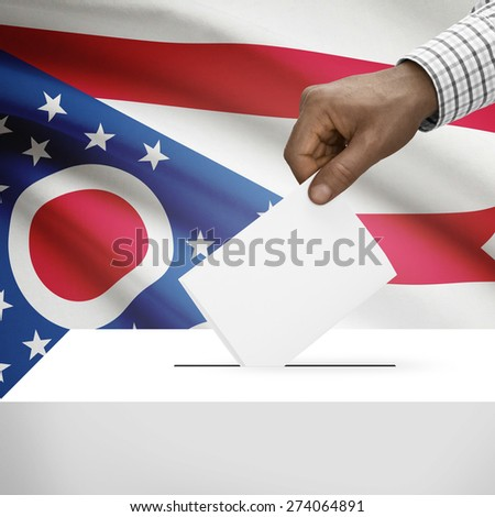 Ballot box with US state flag on background - Ohio
