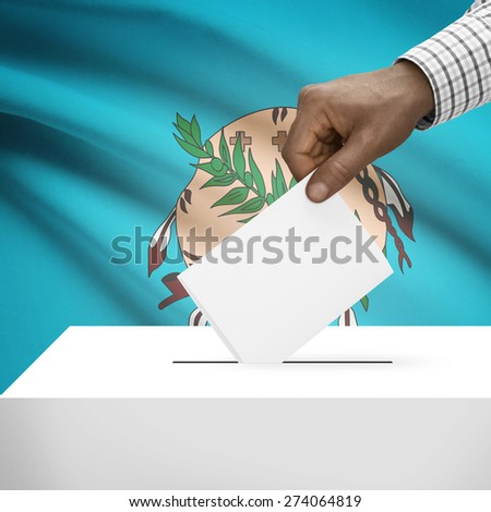 Ballot box with US state flag on background - Oklahoma - stock photo