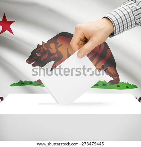 Ballot box with US state flag on background series - California - stock photo