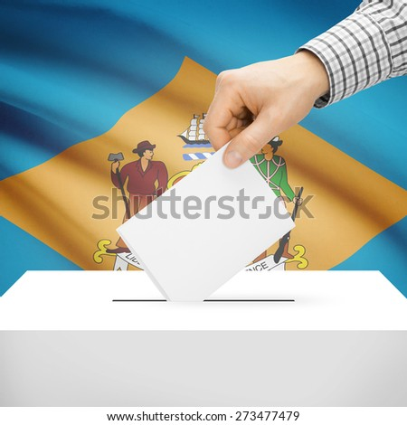 Ballot box with US state flag on background series - Delaware - stock photo